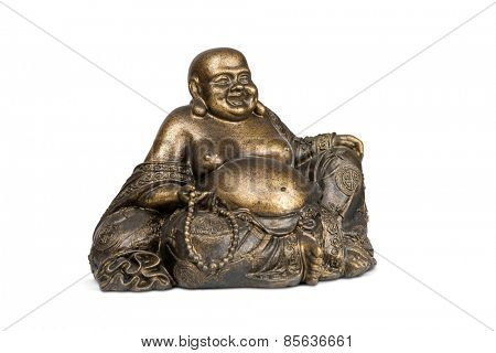 Smiling Buddha brass figurine on white background with clipping path.