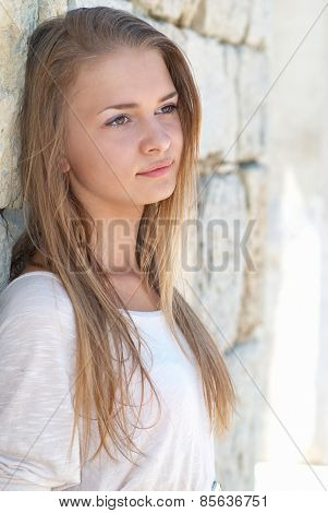 Pretty Blond Girl Outdoors