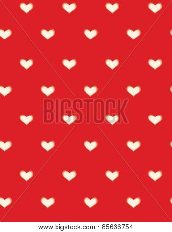 Vector Red  Seamless Hearts Pattern, Blurred, Soft Effect.