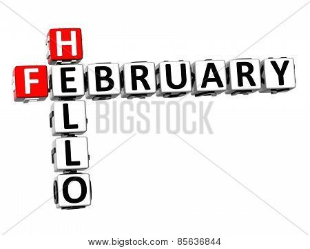 3D Crossword Hello February On White Background