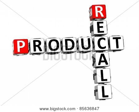 3D Crossword Product Recall On White Background