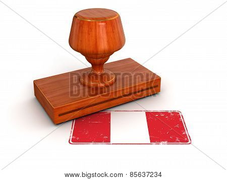 Rubber Stamp Peruvian flag (clipping path included)