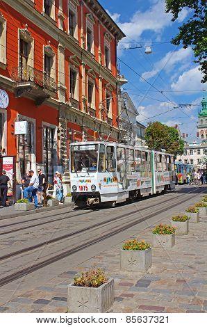 Old Tram Is In The Historic Center Of Lviv, Ukraine