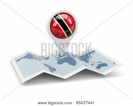 Round Pin With Flag Of Trinidad And Tobago