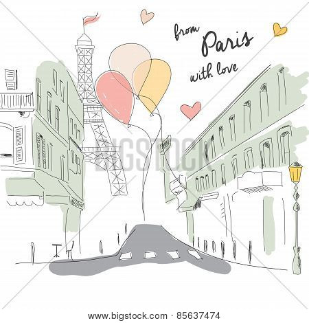 Postcard From Paris Street, Eiffel Tower And Balloons, Hand Drawn