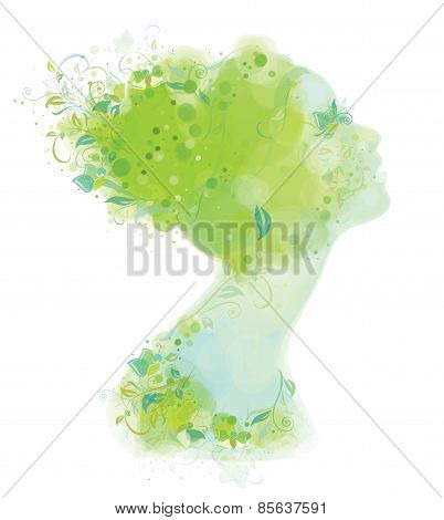Vector Portrait  Beautiful Young Woman Covered Floral Spring Pattern.
