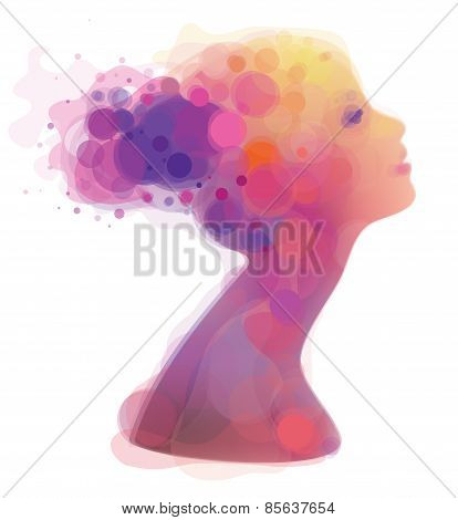 Vector Abstract Colorful Woman Portrait.