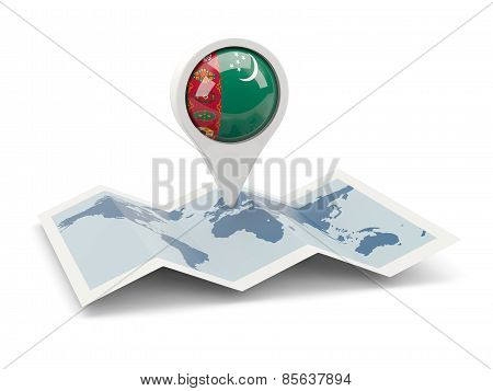 Round Pin With Flag Of Turkmenistan