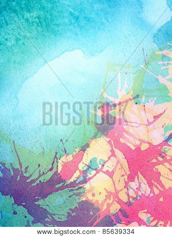 Colorful abstract painted watercolor water, sea or other blue fluid, with different colors splashes.