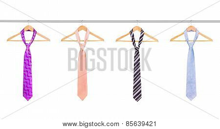 Ties On The Hanger On White Background