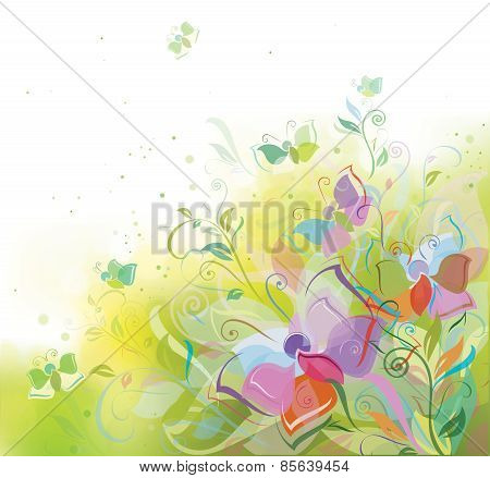 Vector spring background plants and butterflies.