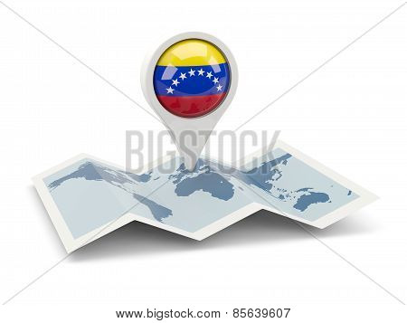 Round Pin With Flag Of Venezuela