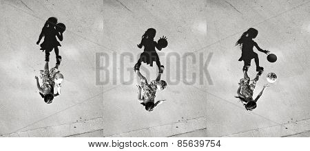 Little Girl Playing Ball Shadow, Set Of Pictures