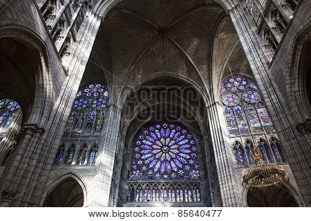 Stained glass in basilica of saint-denis,  France
