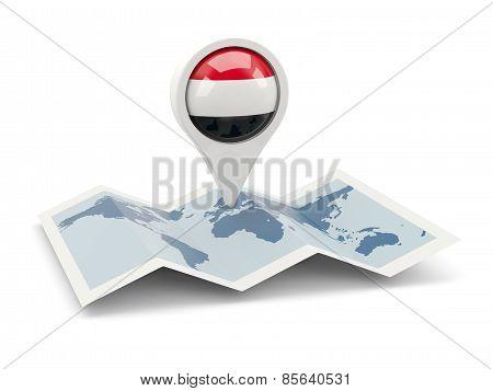 Round Pin With Flag Of Yemen
