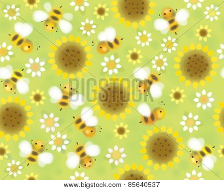 Vector seamless cute pattern flowers and bees soft blurred effect.