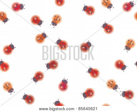 Vector seamless pattern of ladybugs.