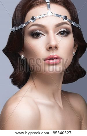 Portrait of a beautiful woman in the image of the bride. Beauty face.