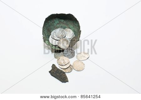 Vintage Silver Arabic Coins On A White Background