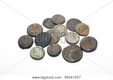 Vintage Silver Coins With Portraits On A White Background