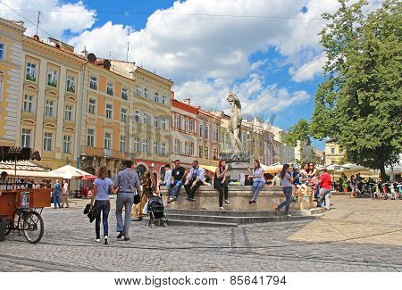 Market square - historical and tourist centre of the town in Lviv, Ukraine