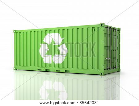 Container Eco. Perspective View Of A Green Container. Part Of Warehouse And Logistics Series.