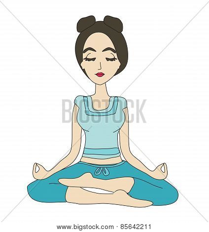 Yoga Girl In Lotus Position