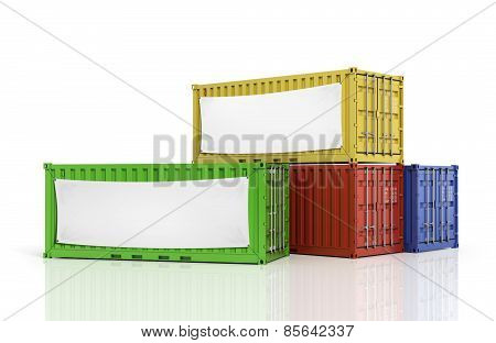 Stack Of Freight Containers With Blank White Banner.