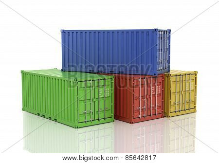 Stack Of Freight Containers.