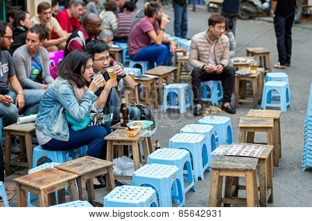 Outdoor dining in Hanoi