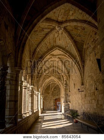 Santander Cathedral, Hallway, Columns And Arches Of The Cloister