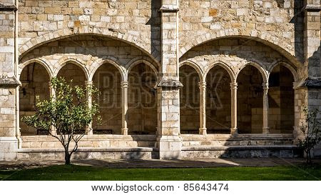 Santander Cathedral, Front View Of Eight Arches Of The Cloister