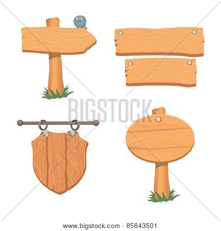 Wooden pointers and signs.  Vector illustration