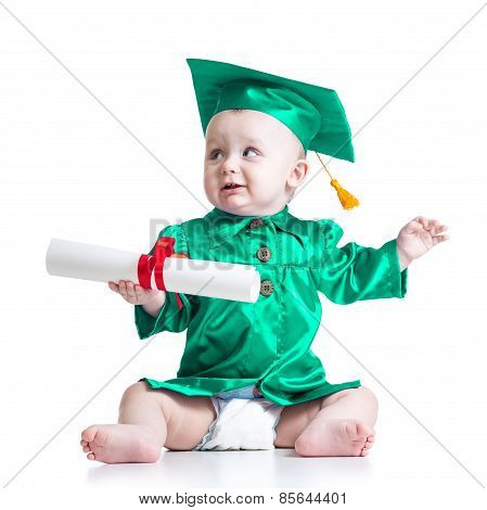 Baby in academician clothes