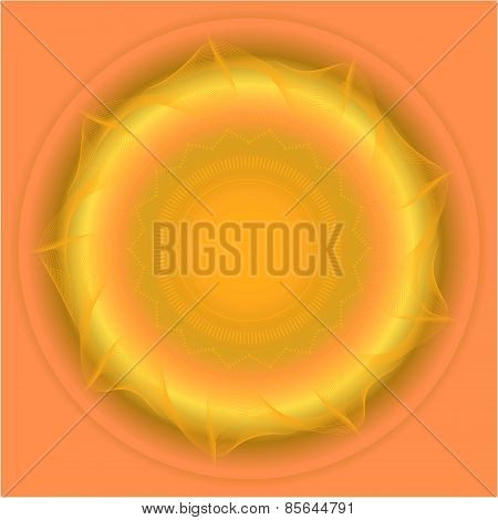 Abstract yellow, orange background with huge sun