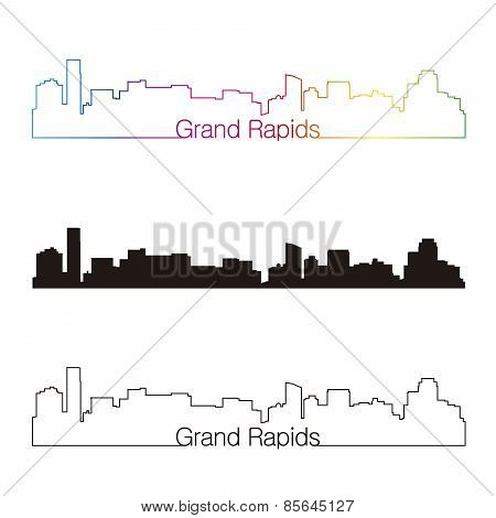 Grand Rapids Skyline Linear Style With Rainbow