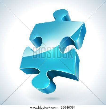 Blue jigsaw puzzle item vector icon isolated on white background.
