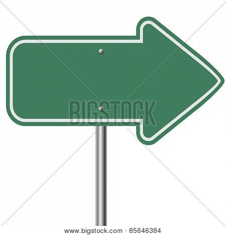 Blank green highway arrow pointer isolated on white background.