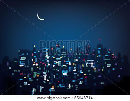 Vector night city.