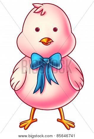 Pink Easter Chicken Cartoon Character