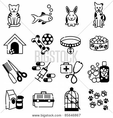 Pet animal care icons black