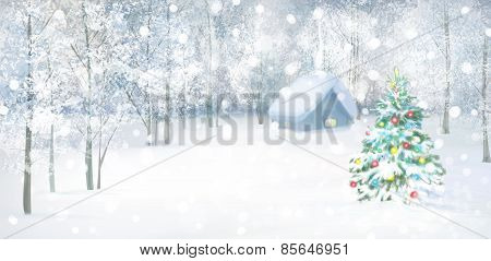 Vector winter landscape.