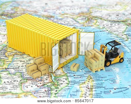 Open Container With Forklift Stacker Loader Holding Cardboard Boxes On The World Map. Transportation