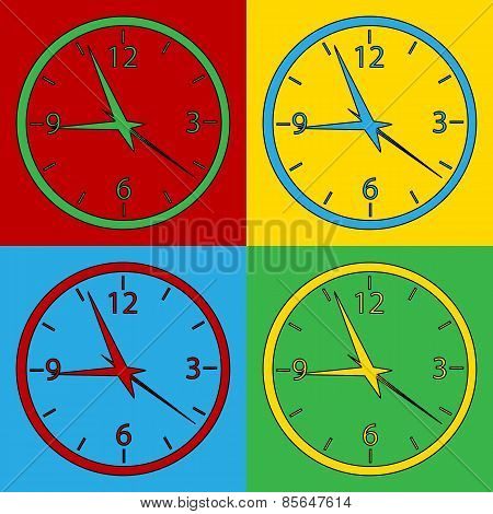 Pop Art Clock Symbol Icons.