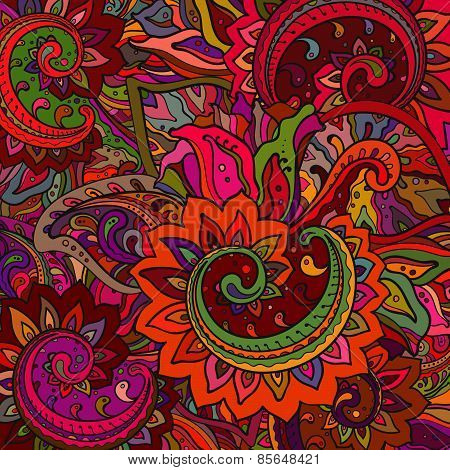 Vector pattern of the indian floral ornament with a lot of details and colors