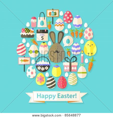 Easter Holiday Greeting Card With Flat Icons Set Circular Shaped