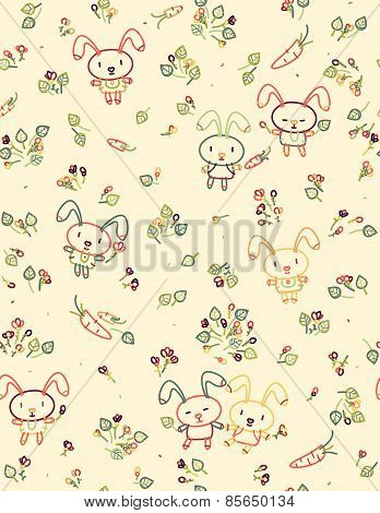 Vector seamless cute pattern.