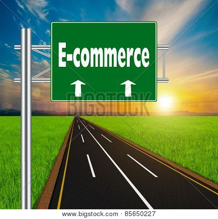 Green Road Sign Concept E-commerce On Soft Natural Landscape Background.