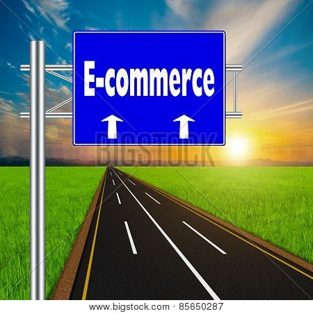 Blue Road Sign Concept E-commerce On Soft Natural Landscape Background.