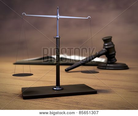 Scales, Hammer Of The Judge And The Book On A Wooden Background